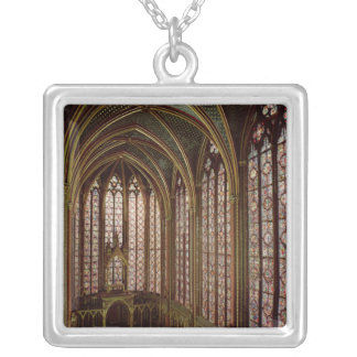 View of the stained glass windows silver plated necklace