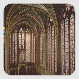 View of the stained glass windows square sticker