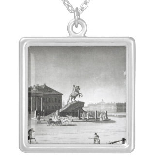 View of the statue of Peter the Great Silver Plated Necklace