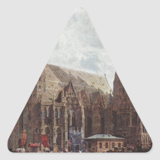 View of the Stephansdom from Stock im Eisen Platz Triangle Sticker
