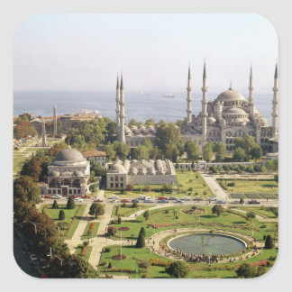 View of the Sultan Ahmet Camii  built 1609-16 Square Sticker