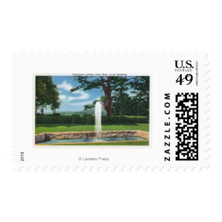 View of the Tanglewood Gardens and Fountain Postage Stamp