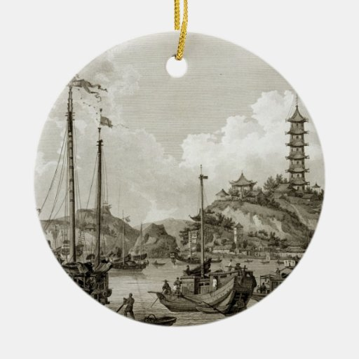 View of the Tchin Shan, or Golden Island, in the Y Christmas Tree Ornaments