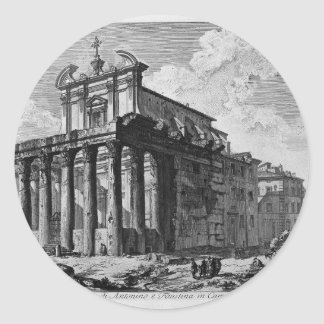 View of the Temple of Antoninus and Faustina Classic Round Sticker