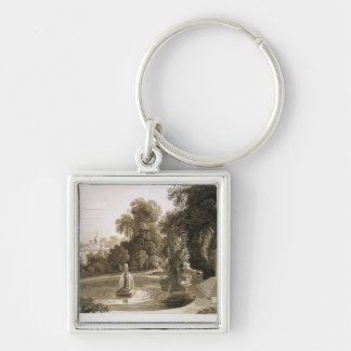 View of the Temple of Suryah and the Fountain of M Silver-Colored Square Keychain