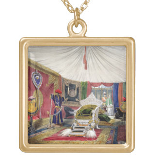 View of the tented room and ivory carved throne, i gold plated necklace
