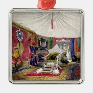 View of the tented room and ivory carved throne, i metal ornament