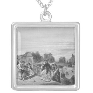 View of the Terrace, Central Park, 1872 Square Pendant Necklace