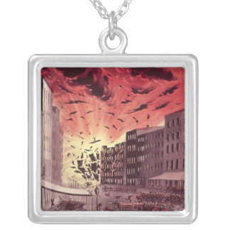 View of the Terrific Explosion at the Great Fire Silver Plated Necklace