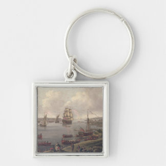 View of the Thames, 1761 Silver-Colored Square Keychain