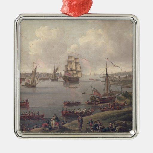 View of the Thames, 1761 Square Metal Christmas Ornament