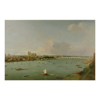 View of the Thames from South of the River Poster