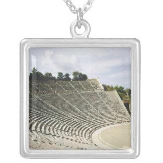 View of the theatre, c.360 BC Square Pendant Necklace