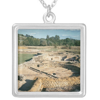 View of the thermal baths square pendant necklace