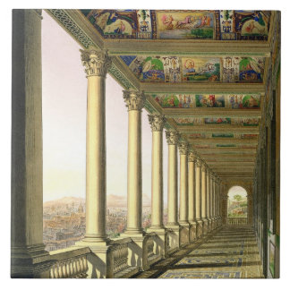 View of the third floor Loggia at the Vatican, wit Tile