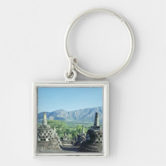 View of the three circular terraces Silver-Colored square keychain
