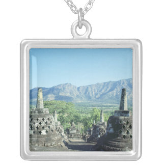 View of the three circular terraces silver plated necklace