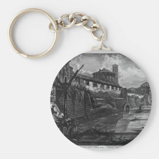 View of the Tiber Island by Giovanni Battista Pira Keychain