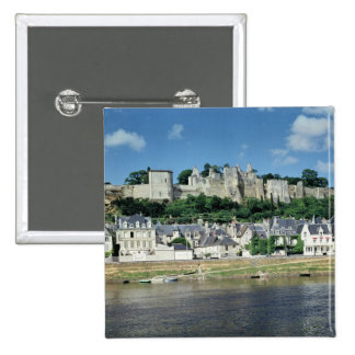 View of the town and castle pinback button