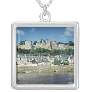 View of the town and castle silver plated necklace