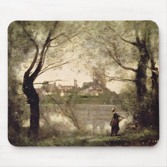 View of the Town and Cathedral of Mantes Mouse Pad