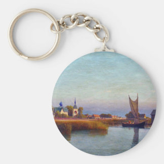 View of the town from the riverside by Lev Lagorio Basic Round Button Keychain