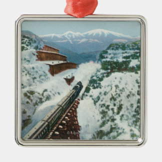 View of the Train at the Summit of the Coast Metal Ornament