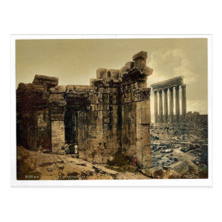 View of the two temples, Baalbek, Holy Land, (i.e. Postcard