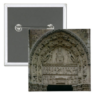 View of the tympanum depicting the Madonna and Chi 2 Inch Square Button