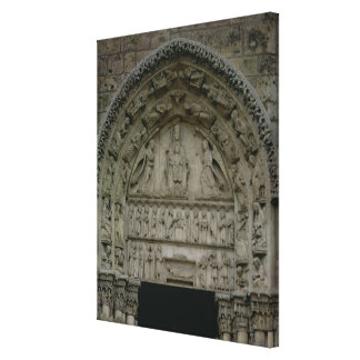View of the tympanum depicting the Madonna and Chi Canvas Print