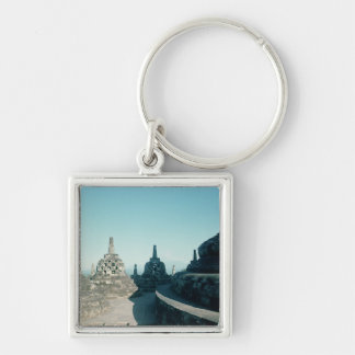 View of the uppermost circular terrace Silver-Colored square keychain