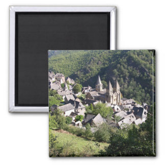 View of the village and the Church of St. Foy (pho 2 Inch Square Magnet