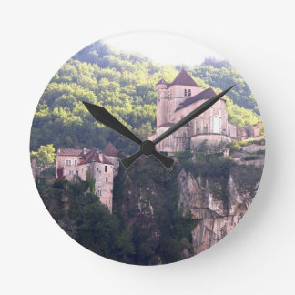 View of the village and the church (photo) 2 round clock