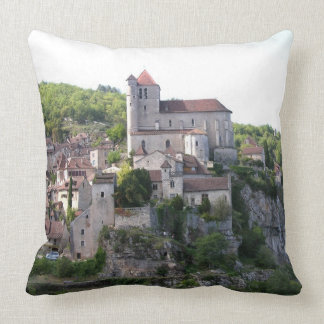 View of the village and the church (photo) 3 throw pillow
