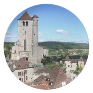 View of the village and the church (photo) dinner plate