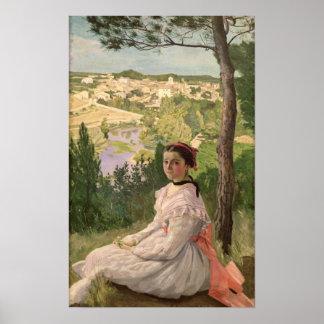 View of the village, Castelnau, 1868 Poster