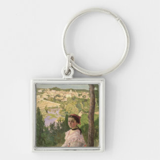 View of the village, Castelnau, 1868 Silver-Colored Square Keychain