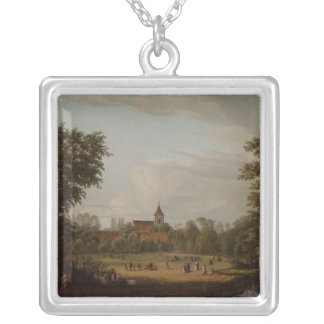 View of the village church, Pankow, 1835 Silver Plated Necklace