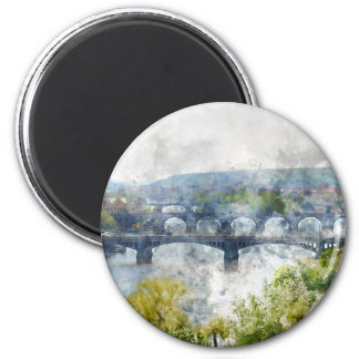 View of the Vltava River and the bridges, Prague, 2 Inch Round Magnet
