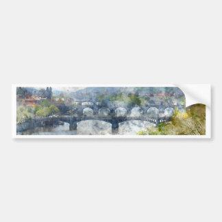 View of the Vltava River and the bridges, Prague, Bumper Sticker