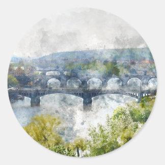 View of the Vltava River and the bridges, Prague, Classic Round Sticker