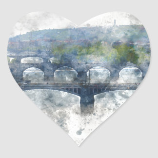 View of the Vltava River and the bridges, Prague, Heart Sticker