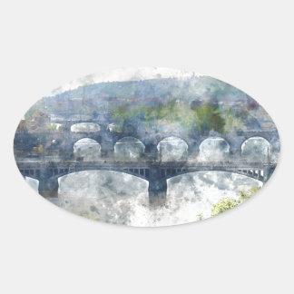 View of the Vltava River and the bridges, Prague, Oval Sticker
