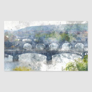 View of the Vltava River and the bridges, Prague, Rectangular Sticker