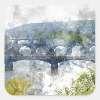 View of the Vltava River and the bridges, Prague, Square Sticker