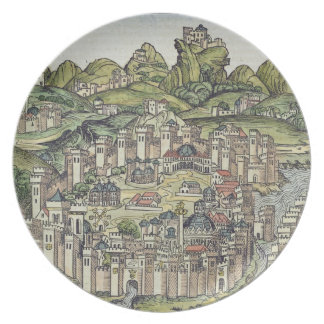 View of the walled city of Constantinople, from th Melamine Plate