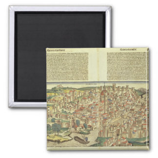View of the walled city of Florence, from the Nure 2 Inch Square Magnet