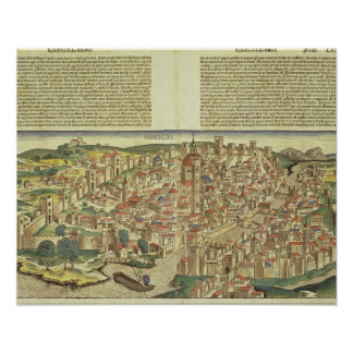 View of the walled city of Florence, from the Nure Poster