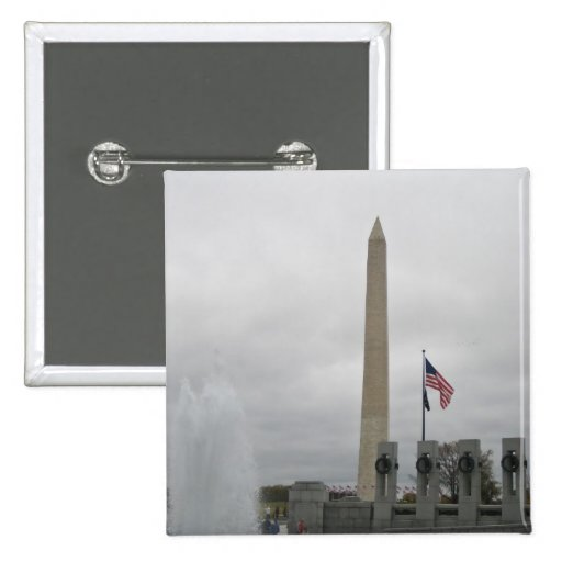 View of the Washington Monument from WWII Memorial Pinback Buttons