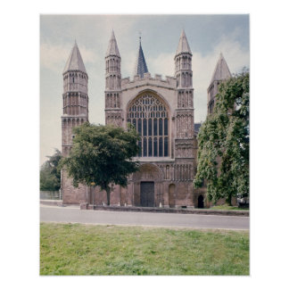 View of the west front of Rochester Cathedral Poster